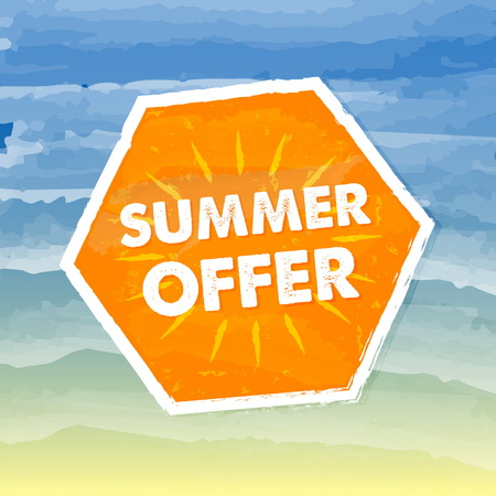 errand: summer offer banner - text in orange hexagon label over yellow blue drawn background, business seasonal shopping concept, vector