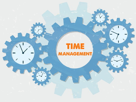 moneymaker: time management with clock signs - business organizing concept words and symbols - red text in blue grunge flat design gear wheels, vector