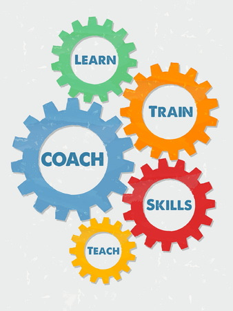 teach: coach, learn, train, skills, teach - business education motivation concept words - blue text in colorful grunge flat design gear wheels, vector