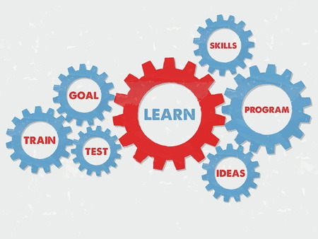 the test: learn, goal, train, test, skills, program, ideas - business education motivation concept words - red blue text in grunge flat design gear wheels, vector Illustration