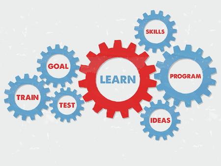 learn, goal, train, test, skills, program, ideas - business education motivation concept words - red blue text in grunge flat design gear wheels, vector
