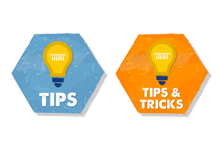 tip up: tips and tricks with bulb symbols - white text in colorful grunge flat design hexagons with icons, business support concept signs, vector Illustration