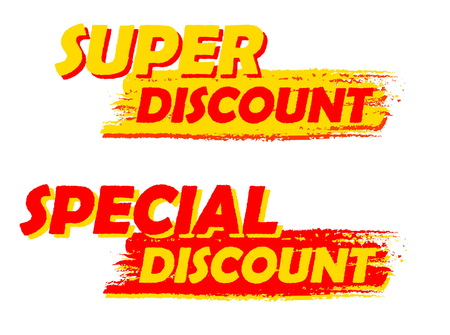 errand: super and special discount banners - text in yellow and red drawn labels, business shopping concept, vector