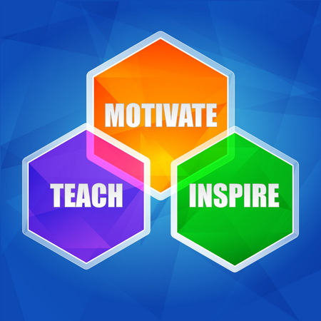 counsel: teach, inspire, motivate - education motivation concept words in color hexagons over blue background, flat design, vector