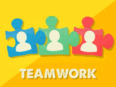 team concept: teamwork and puzzle pieces with person signs over yellow background, grunge flat design, business team building concept, vector