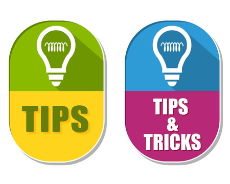 uphold: tips and tricks with bulb symbols, two elliptic flat design labels with icons, business support concept signs, vector