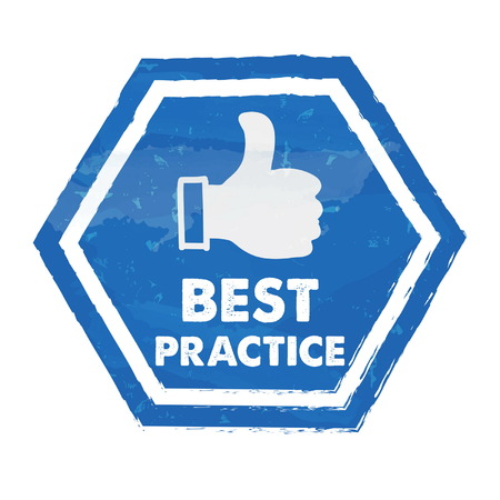 ingenious: best practice with thumb up sign in blue grunge hexagon, vector