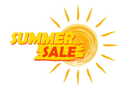 inexpensive: summer sale banner - text in yellow and orange drawn label with sun symbol, business seasonal shopping concept, vector