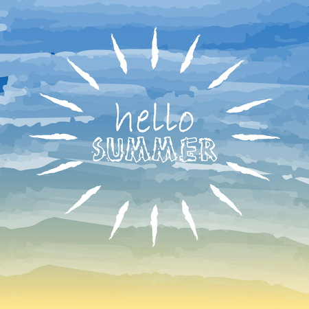 text hello summer with white sun over yellow blue background, seasonal card, vector