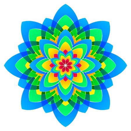 corolla: abstract rainbow colourful flower in circles like mandala form, vector Illustration