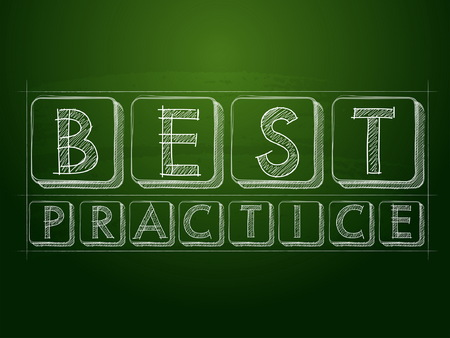 professional practice: best practice - white chalk text over green blackboard, business professional service concept words, vector
