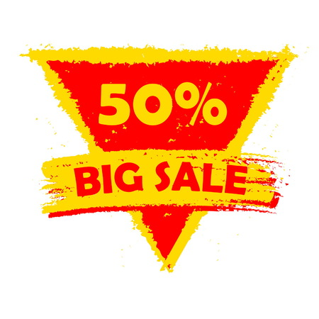 selling off: 50 percentages big sale - text in yellow and red drawn triangle label, business shopping concept, vector