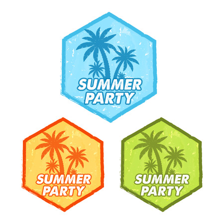 seasonal symbol: enjoy summer party banners - text in blue, orange, green grunge drawn flat design hexagons labels with palms symbol, holiday seasonal concept