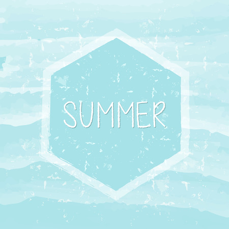 summery: summer in hexagon over blue waves banner - text in frame over summery grunge drawn background, holiday seasonal concept label Stock Photo