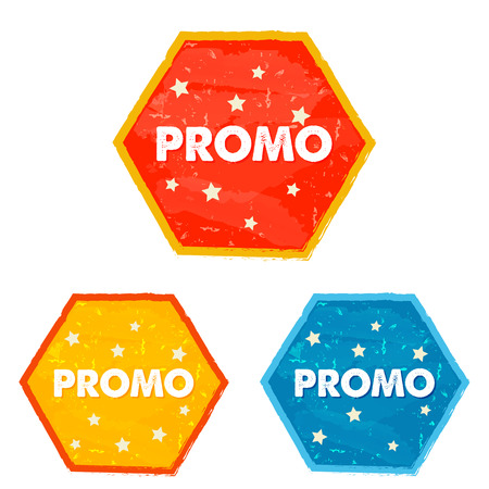 selling off: promo and stars labels - text in red, yellow, blue grunge drawn flat design hexagons banners, business shopping concept