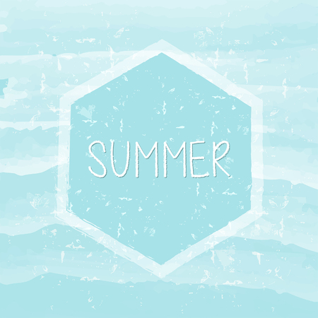 summery: summer in hexagon over blue waves banner - text in frame over summery grunge drawn background, holiday seasonal concept label, vector