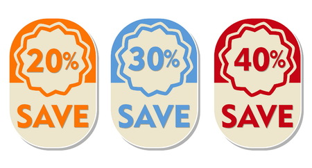 elliptic: 20, 30, 40 percent off save text banners, three elliptic flat design labels, business shopping concept, vector
