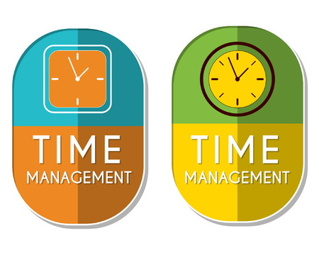 moneymaker: time management with clock signs, two elliptic flat design labels with icons, business organizing concept symbols, vector