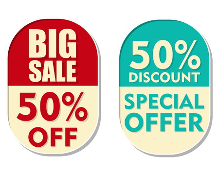 inexpensive: 50 percent off discount, big sale and special offer text banners, two elliptic flat design labels, business shopping concept, vector