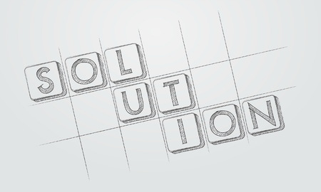ingenious: solution - text in hand-drawn style blocks in blueprint, business creative concept, vector Illustration