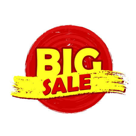 inexpensive: big sale drawn label - text in red and yellow round banner, business shopping concept, vector Illustration