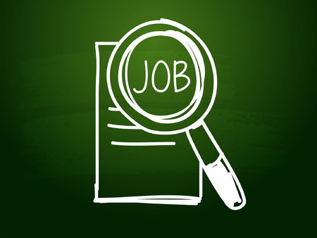careerist: job and search sign - white chalk text with symbol over green blackboard, job seeking concept, vector