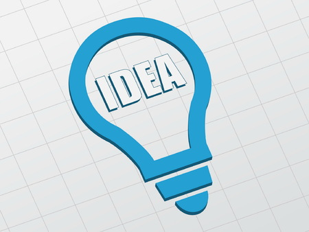ingenious: idea in light bulb sign - white text and blue symbol flat design, business creative concept, vector