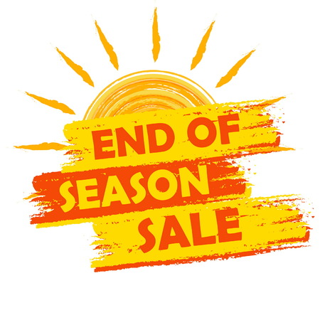 end of summer: end of season sale banner - text in yellow and orange drawn label with summer sun symbol, business seasonal shopping concept, vector Illustration