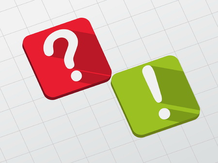 exclamation point: question and exclamation signs - symbol in red and green flat design blocks, business concept, vector Illustration