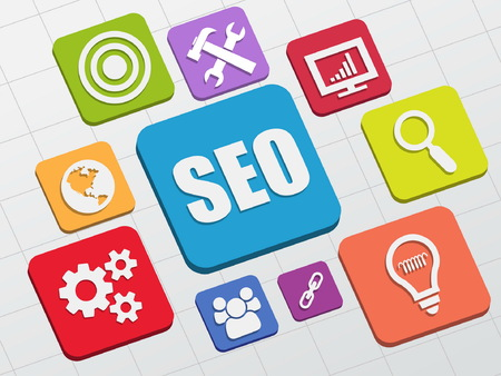 meta: SEO and internet signs - white symbols in colorful flat design blocks, business technology concept icons, vector