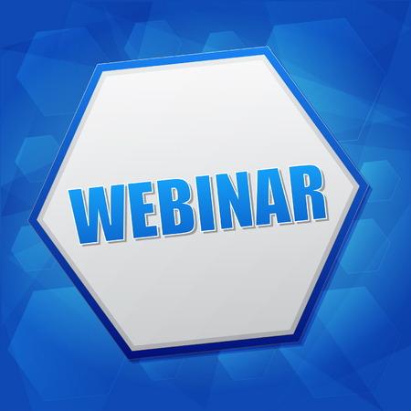 webinar - mot de concept d'apprentissage internet à hexagone sur fond bleu, design plat, vecteur