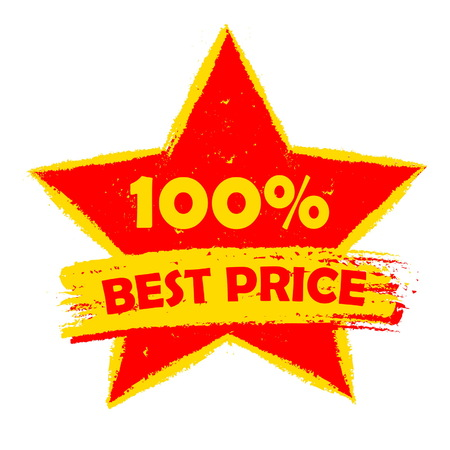 selling off: 100 percentages best price in star - text in yellow and red drawn label, business shopping concept, vector