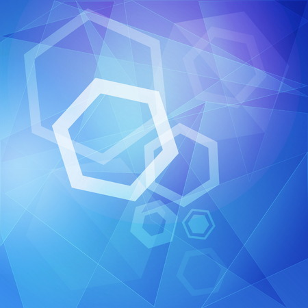 hexahedral: abstract blue background with white hexagons, lines and triangles, vector