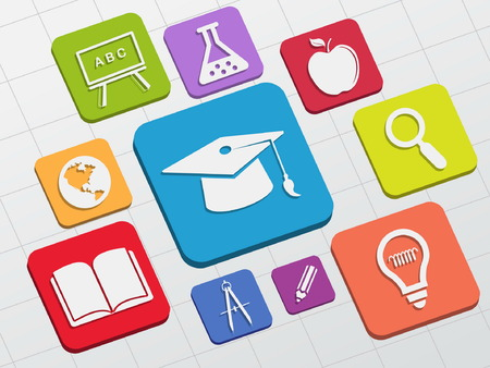 education signs - white symbols in colorful flat design blocks, learning concept icons, vector