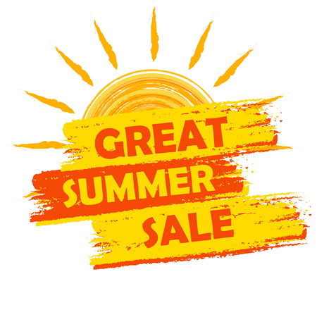 selling off: great summer sale banner - text in yellow and orange drawn label with sun symbol, business seasonal shopping concept, vector