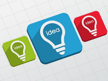 ingenious: idea in light bulbs signs - white text and symbols in colorful flat design blocks, business creative concept, vector Illustration