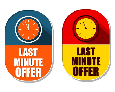 elliptic: last minute offer with clock signs, two elliptic flat design labels with icons, business commerce shopping concept symbols, vector