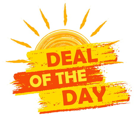 deal in: summer deal of the day banner - text in yellow and orange drawn label with sun symbol, business seasonal shopping concept, vector