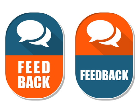 criticism: feedback and speech bubbles symbols, two elliptic flat design labels with icons, business and communication concept, vector Illustration