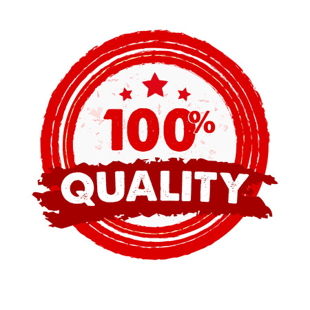 percentages: 100 percentages quality and stars - text in red grunge drawn round banner with symbol, retro style label, business concept sign, vector