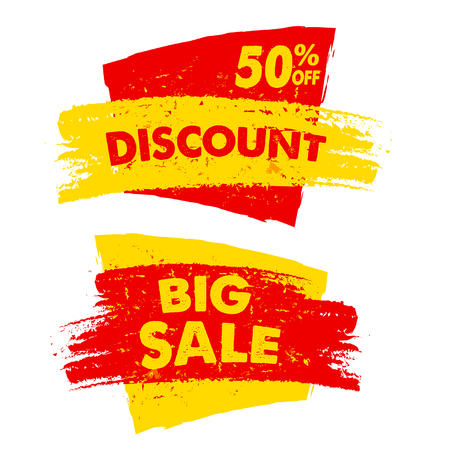 inexpensive: 50 percent off discount and big sale text banners, two yellow red grunge drawn labels, business commerce shopping concept, vector