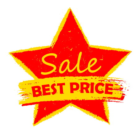 errand: best price sale in star - text in yellow and red drawn label, business shopping concept, vector