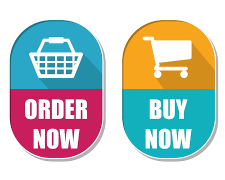 elliptic: order now and buy now with shopping basket and cart symbols, two elliptic flat design labels with icons, business commerce concept, vector Illustration