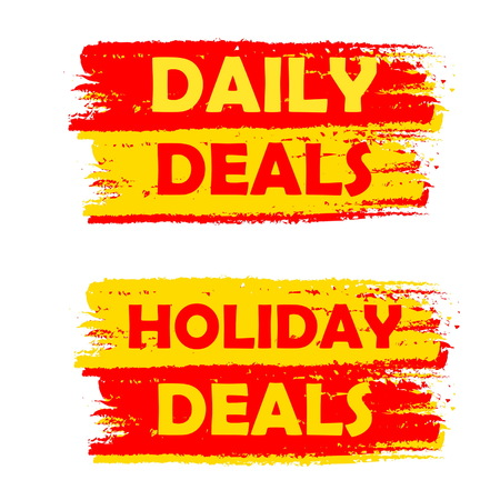 holiday shopping: daily and holiday deals banners - text in yellow and red drawn labels, business commerce shopping concept, vector
