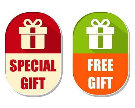 elliptic: special and free gift with present box symbol, two elliptic flat design labels with icons, business holiday concept, vector