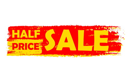 errand: half price sale - text in yellow and red drawn label, business shopping concept, vector