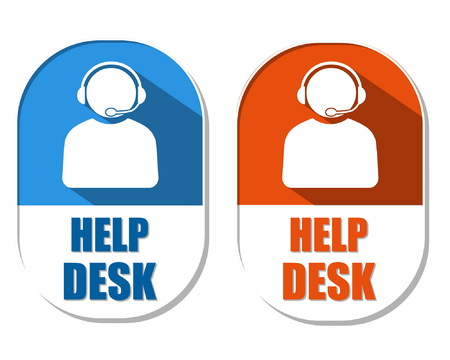 headset business: help desk with headset symbol, two elliptic flat design labels with icons, business technical support concept, vector Illustration