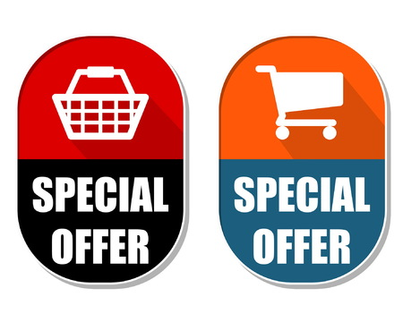 elliptic: special offer with shopping basket and cart symbols, two elliptic flat design labels with icons, business commerce concept, vector Illustration