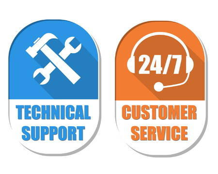 headset business: technical support with tools sign and 247 customer service with headset symbol, two elliptic flat design labels with icons, business attendance concept, vector Illustration