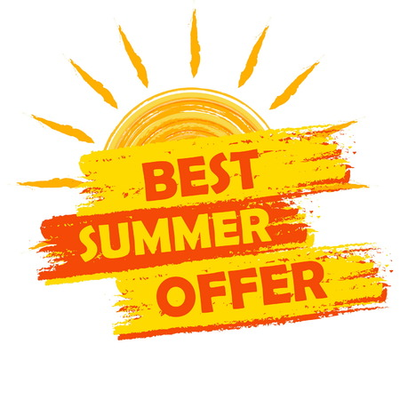 selling off: best summer offer banner - text in yellow and orange drawn label with sun symbol, business seasonal shopping concept, vector Illustration
